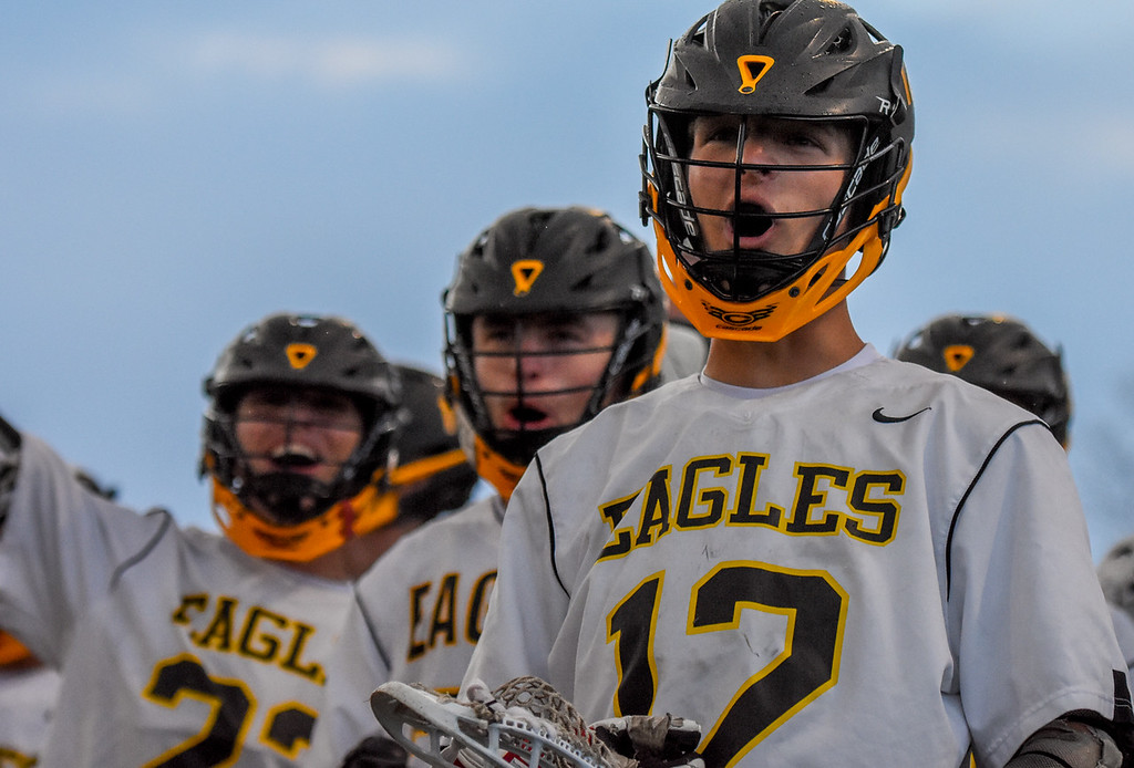 . Thompson Valley\'s Jacob Cherry cheers along with the bench after the Eagles scored a goal against Ponderosa on Tuesday May 1, 2018 at Patterson Stadium. (Cris Tiller / Loveland Reporter-Herald)
