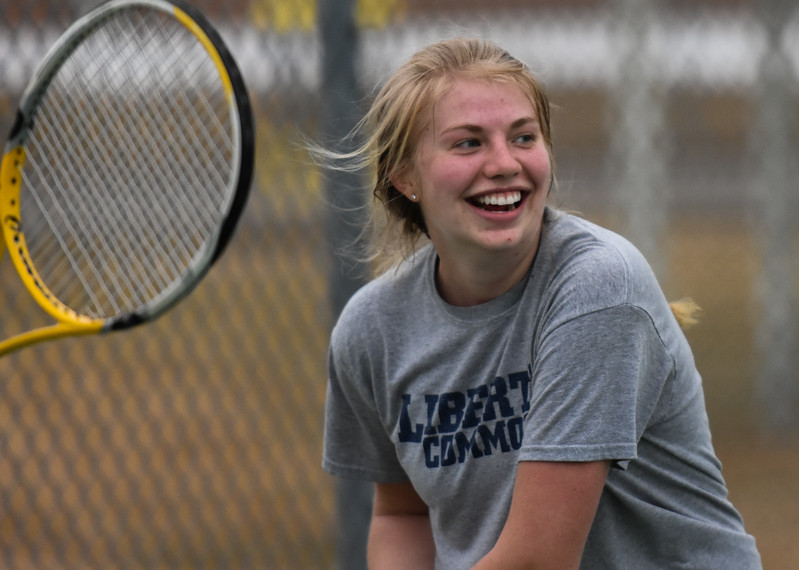 Thompson Valley's Madison Sheets smiles as she goofs around with her teammates during practice Thursday March 1, 2018 at the TVHS courts. (Cris Tiller / Loveland Reporter-Herald)