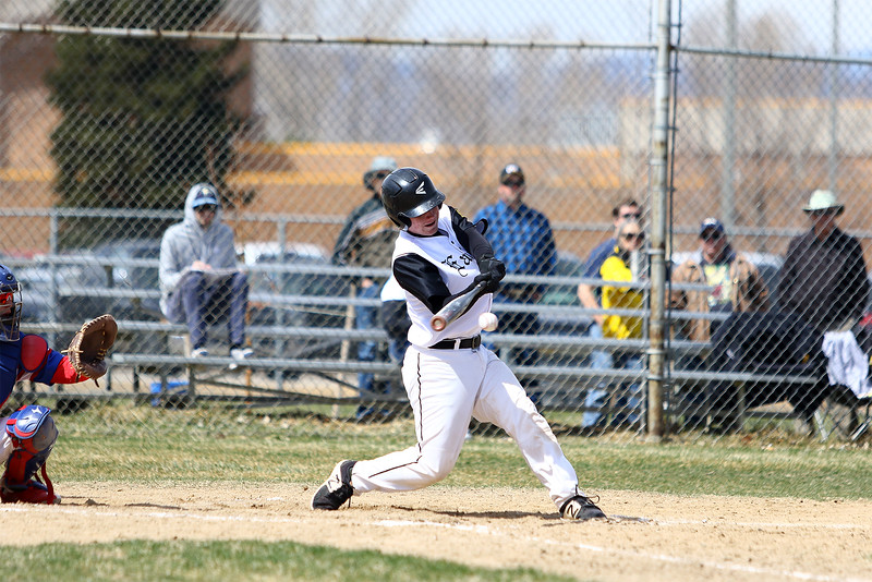 Thompson Valley's Trey Kreikemaier makes contact for a fifth-inning single against Centaurus on Saturday March 31, 2018 at Constantz Field at TVHS. (Javon Harris / For the Reporter-Herald)