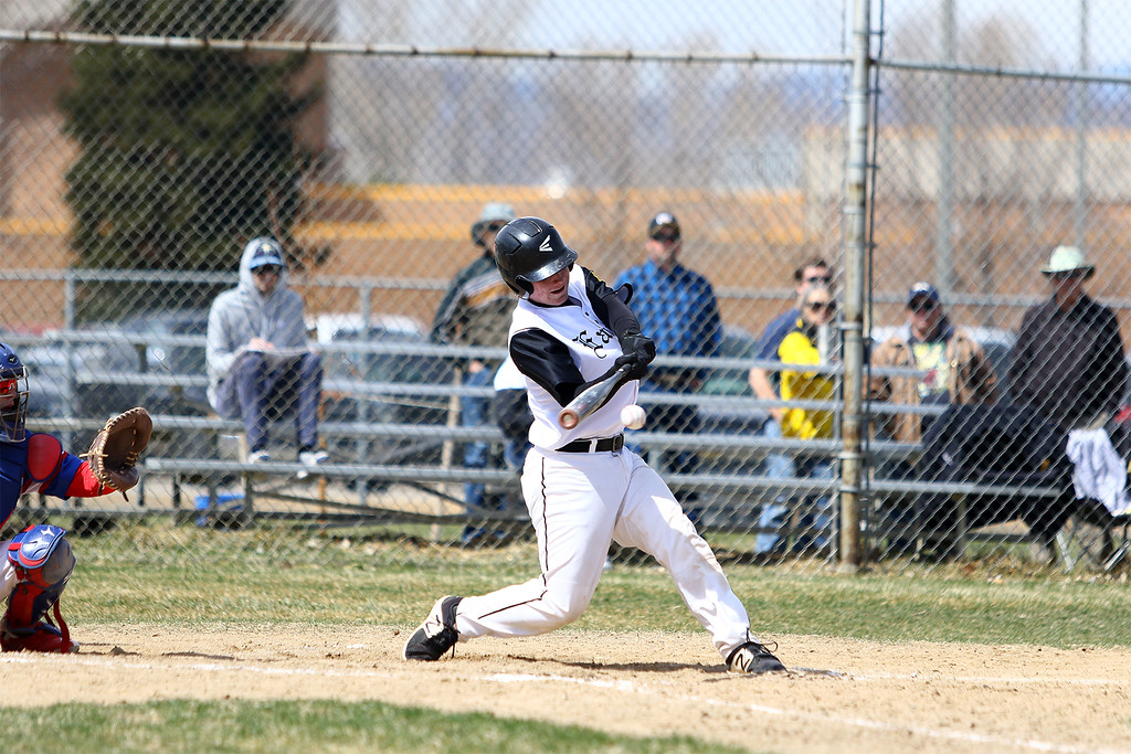 . Thompson Valley\'s Trey Kreikemaier makes contact for a fifth-inning single against Centaurus on Saturday March 31, 2018 at Constantz Field at TVHS. (Javon Harris / For the Reporter-Herald)