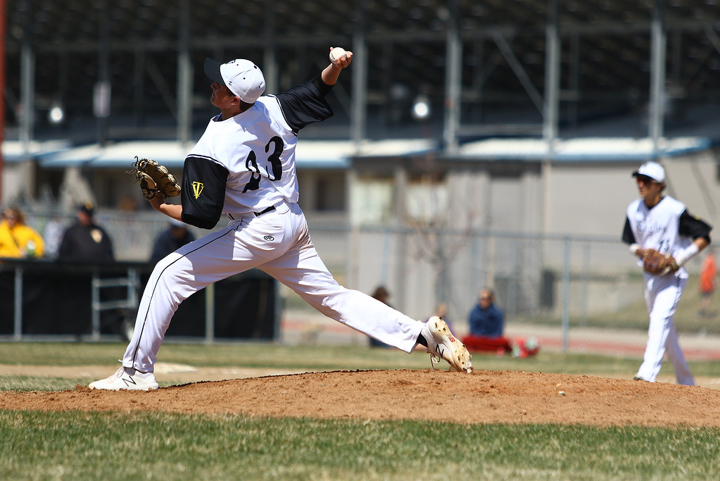 . Thompson Valley pitcher Aidan Schultz delivers against Centaurus on Saturday March 31, 2018 at Constantz Field at TVHS. (Javon Harris / For the Reporter-Herald)