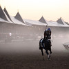 Spencer Tulis<br /> Fog rolls in over the main track at Saratoga Race Course Saturday as horses continue their routines as the venue gets ready for it's biggest day of the meet highlihjted by the Traver's Stakes.