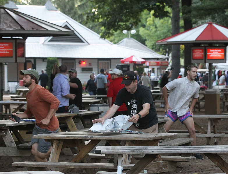 Spencer Tulis<br /> The annual rush for picnic tables was underway Saturday at Saratoga Race Course in anticipation of a stakes loaded Traver's Day card.
