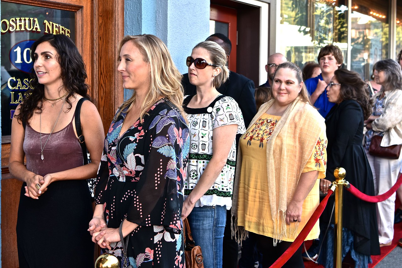 Waiting for their grand red carpet entrance at the front of the Minor Theater are Carol Ingram, Yuliis Imel, Linzy Robinson and Kelly Akpeki   José Quezada—For Times-Standard