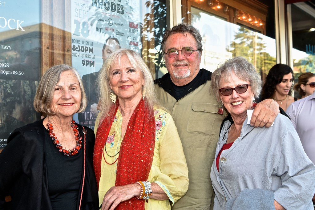 . Former Arcata Mayor Alex Stillman waits on the red carpet line for the special screening of the movie Woodshock with friends Joan Schirle, Richard Jett and Karole Ely.    José Quezada�For Times-Standard