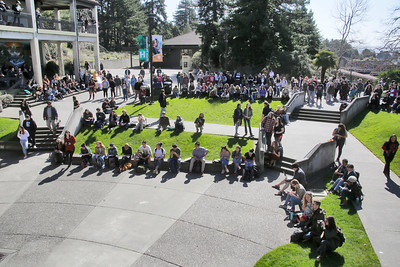 Shaun Walker — The Times-Standard  Students gather on the Humboldt State University quad Wednesday during a walkout over a statewide tuition increase.
