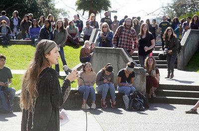 Shaun Walker — The Times-Standard  Psychology and special education senior Chey King speaks on Wednesday during a walkout over a statewide tuition increase.