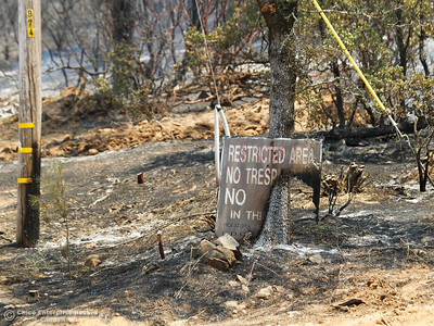 At the base of Chinese Wall Road along Swedes Flat Road where the Wall Fire originated Saturday July 8, 2017 in Oroville, California.  (Emily Bertolino -- Enterprise-Record)
