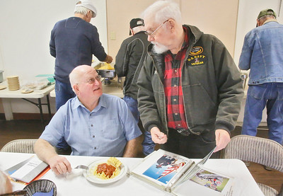 Shaun Walker — The Times-Standard  Richard Morgan of Fortuna, left, who was in the Navy and Marines 1959-65, left, and Bill Kohse of McKinleyville, who was in the Navy and the Army 1967-97, chat at the Warrior's Lunch at the Arcata Veterans Hall on Wednesday. On the first Wednesday of every month, American Legion Arcata Post 274 serves the meal from noon to 2 p.m. All are welcome to come and meet local veterans from multiple eras and enjoy the food. On Friday, Nov.10, at 6 p.m., there is a Marine Corps Ball there celebrating the 242nd birthday of the service, and the College of the Redwoods Big Band will play. On Thanksgiving day, the second annual harvest feast will be hosted at the hall.