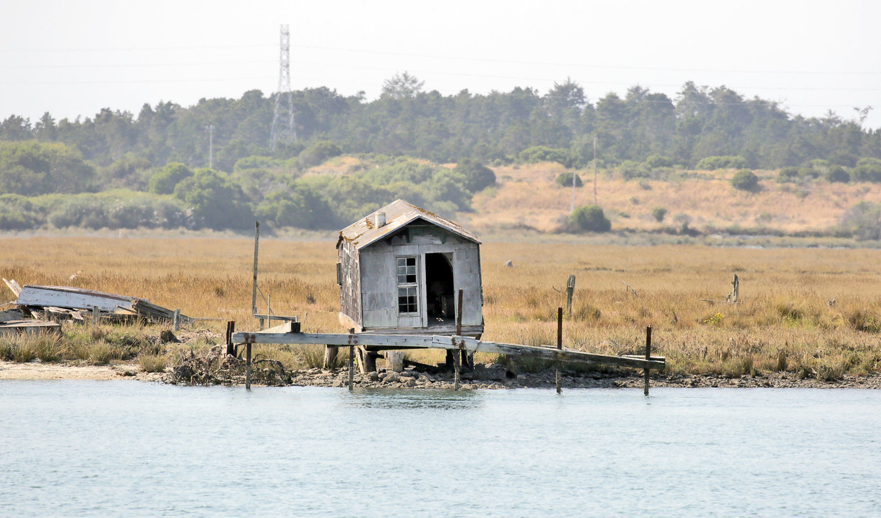 Shaun Walker — The Times-Standard  A small dilapidated building sits near a house on Indian Island.