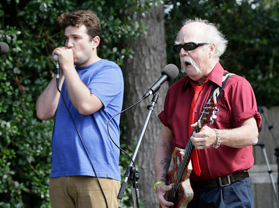 Shaun Walker — The Times-Standard  Buddy Reed, right, and Andy Fihn of Buddy Reed and the Rip It Ups play at the 17th-annual Buddy Brown Blues Festival in Blue Lake's Perigot Park on Saturday. The event was a fundraiser for the Humboldt Folklife Society's school program and featured six bands, barbecue, and ales on tap.