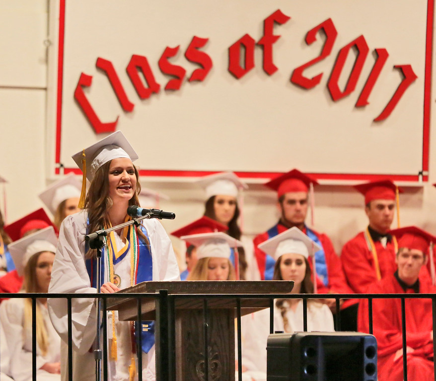 . Shaun Walker � The Times-Standard  Class President Genevieve Regli speaks at Ferndale High School\'s graduation ceremony at the Humboldt County Fairgrounds on Friday night. The school graduated 37 students.