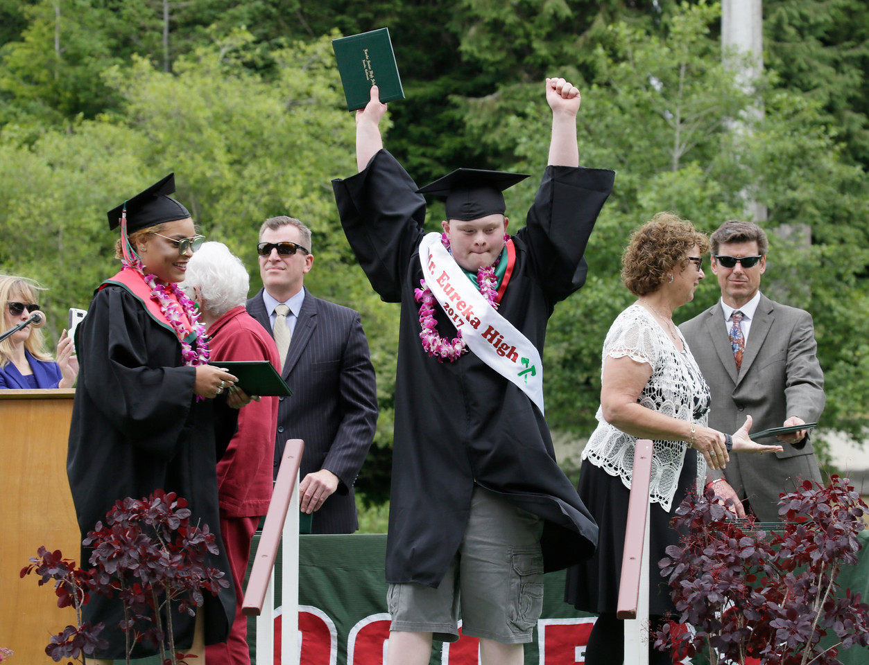 Shaun Walker — The Times-Standard  David Henry Stratman celebrates after getting his diploma at Eureka High School's graduation ceremony on Friday. The school graduated about 250 seniors in Albee Stadium.