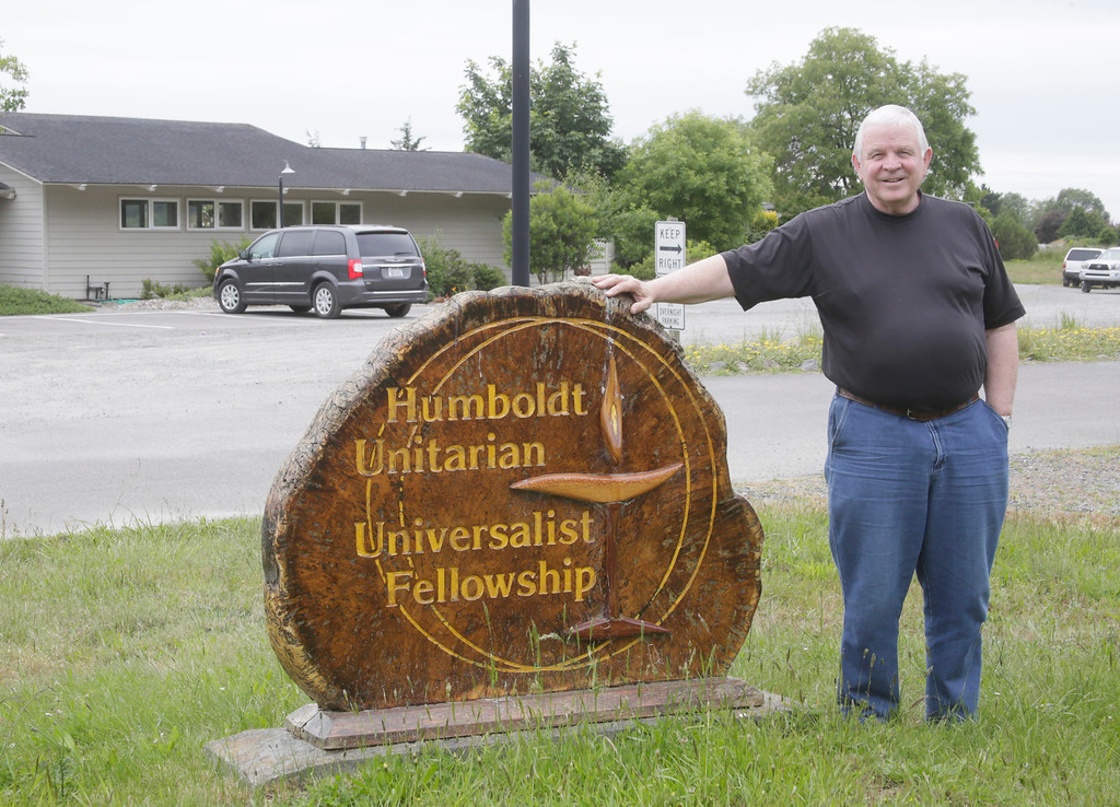 . Shaun Walker � The Times-Standard  Minister Bryan Jessup stands outside the Humboldt Unitarian Universalist Fellowship in Bayside on Thursday afternoon. The congregation there declared itself to be a Sanctuary Congregation earlier this month.