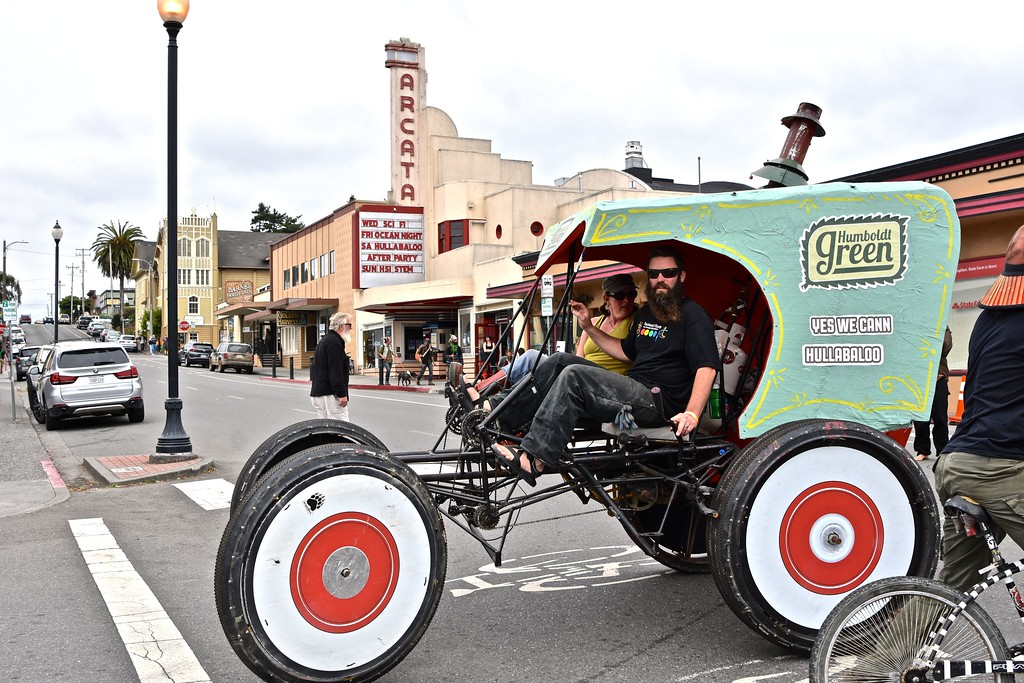 . Humboldt Green, a leader in the cannabis industry, takes their human-powered buggy across from H Stree, Arcata.  José Quezada�For the Times-Standard