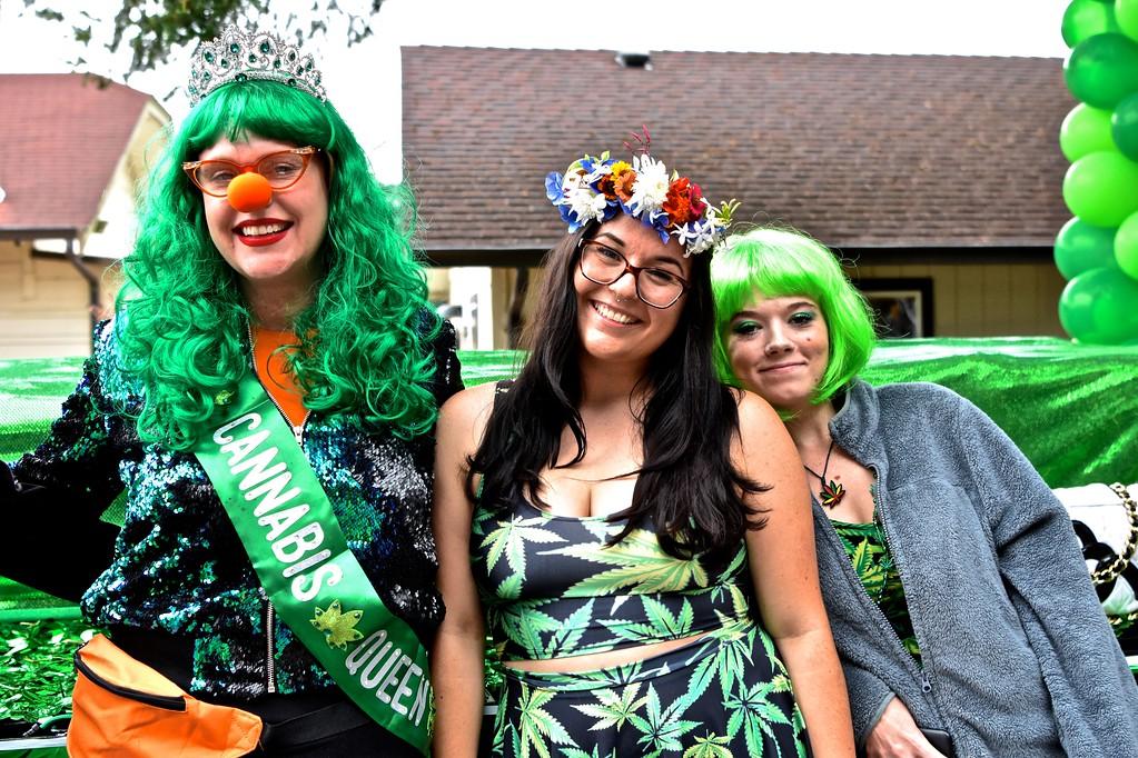 . Cannabis Queen contestants mug for the camera.  José Quezada�For the Times-Standard