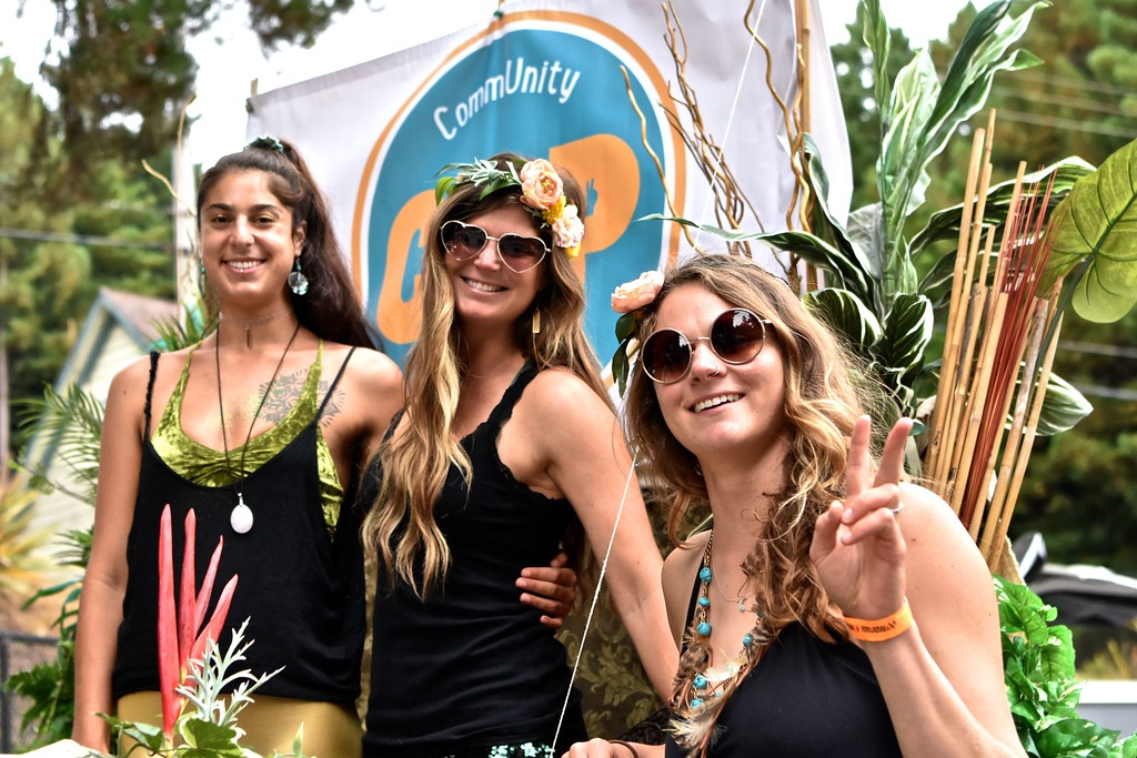 . Yonit Roth, Emily Benvie , and Julie Stewart of Community Pride and Peace pose shortly before beginning of the Yes We Cann parade. José Quezada�For Times-Standard