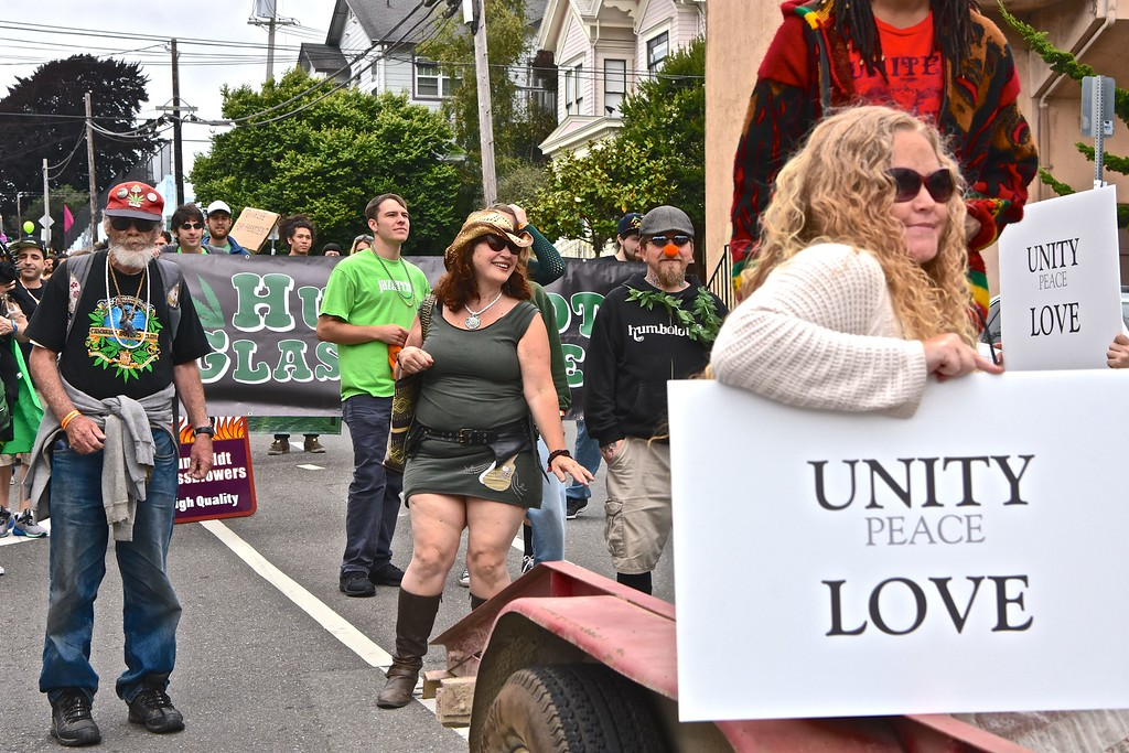 . A mix of advocates, industry and political organizers marked a big part of the Yes We Cann parade.  José Quezada�For the Times-Standard