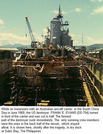 What was left of the Frank E Evans after bing sliced in half by an Australian carrier.