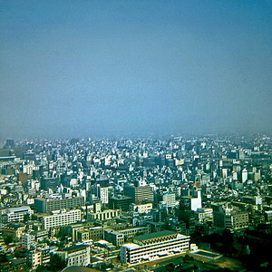 Looking across the city from the Tokyo Tower (Tokyo, Japan August 1969)