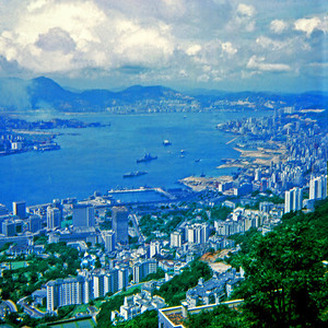 Hong Kong Harbor as seen while riding the tram to the top of Victoria Peak. (Hong Kong, July 1969)