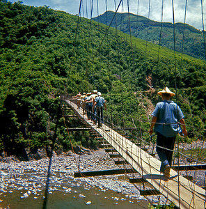It was said to be a 300 foot drop below this swinging bridge.