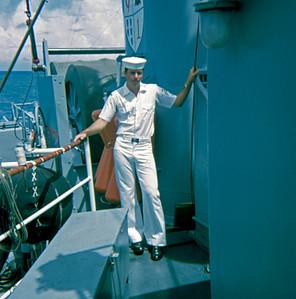 Glen Bernard at Sea & Anchor Detail on USS Implicit, entering Kaohsiung, Taiwan (July 1969)