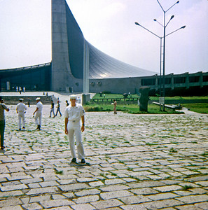 Having moored at Yokosuka, several crew members of the USS Implicit took a tour bus (or was it a train?) to Tokyo, about 60 miles away. Here, Glen Bernard is standing in front of the Stadium built for the 1964 Olympic Games in Tokyo.