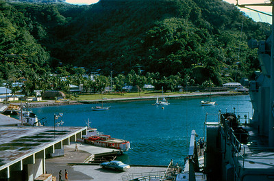 View from the Signal Bridge of the USS Truxtun while docked at Pago Pago, American Samoa, 1971.