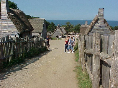 "PLIMOUTH PLANTATION This replica village three miles south of Plymouth, MA was built on the exact spot of the original ""Plimouth Plantation"", home of the pilgrims who arrived here in 1620. (Aug 28, 2000)"