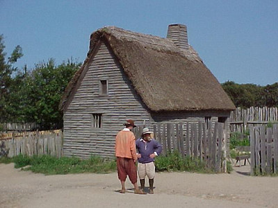 PLIMOUTH PLANTATION Period actors mingle with tourists and welcome questions pertaining to the daily chores they perform consistent with the 17th century. (Aug 28, 2000)