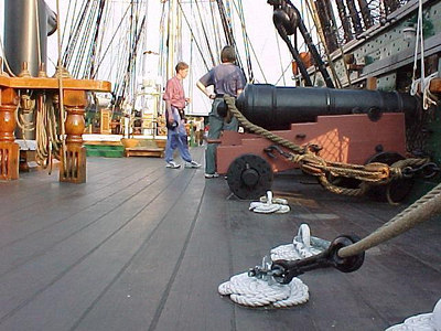 TOP DECK OF OLD IRONSIDES USS CONSTITUTION at Charlestown Naval Yard. (Boston, MA Aug 27, 2000)