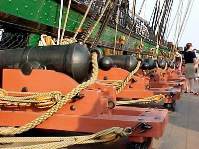 ROW OF CANNONS ALONG STARBOARD SIDE USS CONSTITUTION at Charlestown Naval Yard. (Boston, MA Aug 27, 2000)