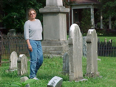 Sherry searching for ancestor graves at Jonesborough, Tennessee