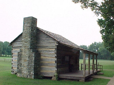 DAVY CROCKETT BIRTHPLACE: Built on the spot of the original is this replica of the cabin where Davy Crockett was born, near the community of Limestone, TN on the banks of the Nolichucky River. Aug 4, 2000.