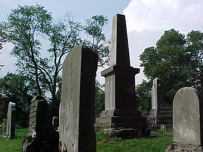 Jonesborough Cemetery: Tall stone is that of David Deaderick, husband of Sherry's 5th Great Grand Aunt, Margaret (Anderson) Deaderick.