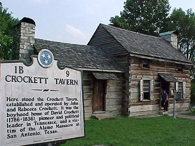 CROCKETT TAVERN: At Morristown, TN is this replica of John Crockett's tavern (Davy's father)built on the site of the original. (Sherry's ancestry dates back to this area in the 1700s.)