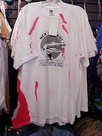ALLIGATOR WRESTLING TEAM T-SHIRT FOR SALE AT BOUDREAUX'S (New Orleans, Sept 13, 2000)