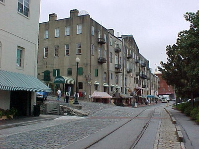 RIVER STREET The stones used in construction of River Street were once ballast in the numerous ships that traveled to Savannah from all over the world. (Savannah's Historic District, Sept 6, 2000)