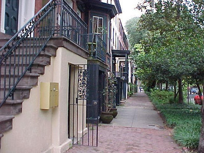 "ON JONES STREET IN OLD SAVANNAH Jones Street was known for its affluent homes and is thought to be where the term, ""keeping up with the Joneses"" is derived. (Sept 6, 2000)"