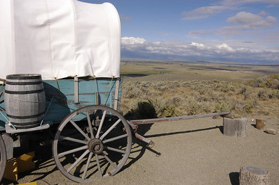 WAGON TRAIN REPLICA -- Oregon Trail Interpretive Center, Baker City, Oregon (Sept 2004)