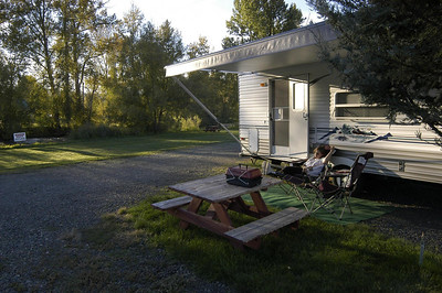 IN CAMP -- Wallowa River RV Park, Wallowa, Oregon (Sept 2004)