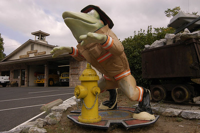 FIREFIGHTING FROG: Near the fire station on the south end of Angels Camp, California.