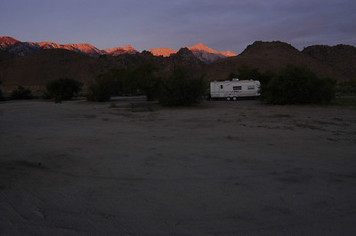 FIRST LIGHT: Sunlight nips the ridges of the Sierras.
