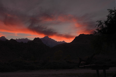 SUNSET: MT Whitney, as seen from Diaz Lake Campground.