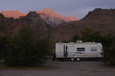 MORNING WALK: Sherry and Elam emerge from the trailer for a morning stroll after our overnight stay at Diaz Lake Campground south of Lone Pine, California (Sept 2006).