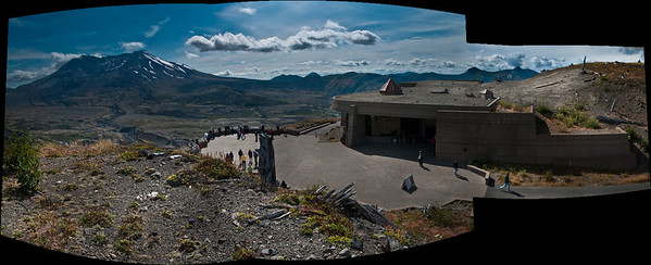 The visitor center is open daily from 10 AM to 6 PM May through October. Closed in winter. (4-Picture Photomerge)