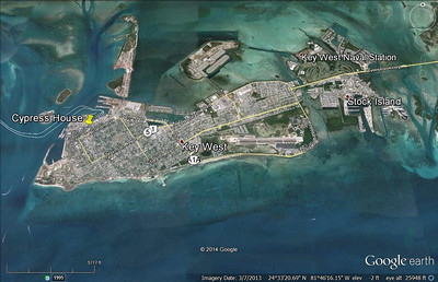 Key West is approximately 4 miles from side to side and 1 mile from top to bottom.