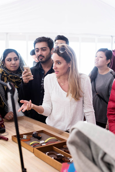 """The travelling """"Hermès at Work"""" exhibition brings Hermès' craftspeople from the intimacy of their ateliers in France to Vancouver to interact with the public and demonstrate their craft."""