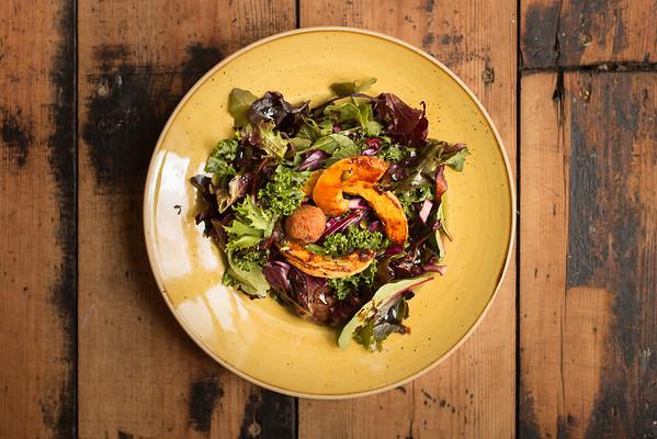 Falafel Salad, Yellow Bowl, Wooden Table